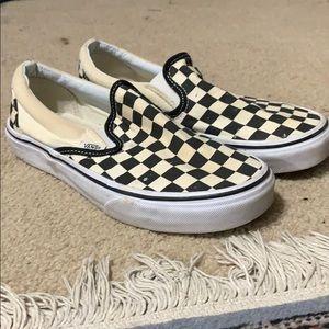 Used checkerboard slip on Vans